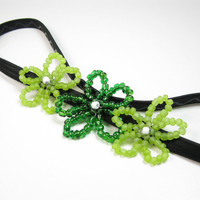 St Patricks Day Beaded Headband - Emerald Green Beaded Flower Headwrap - Flower Headband - Kids Hair Accessory