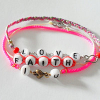 Love Faith Simple Braided Friendship Bracelets lot - Neon pink cord colorful floss mint coral string letter beads stackable adjustable