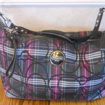 Coach Tartan Stripe Plaid Hobo Handbag Purse Purple Black F17709