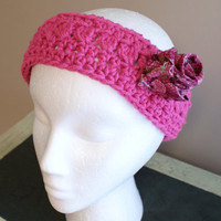 Womens Fashion Headband, Earwarmer Headband, Pink Headband, Ski Band, Rosette Headband, Yoga Hairband, Workout Headband