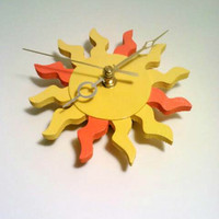 Clock, Hanging Clock, Sun Clock, Yellow Clock, Orange Clock, Retro Clock