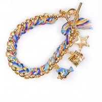 Charm Bracelet with Rainbow Woven Thread (Yellow Gold Plated) | Disney Couture Jewelry | 80&#x27;s Purple