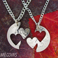 Double Hearts Love quarter Couples hand cut coin by NameCoins