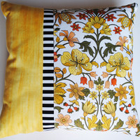 Yellow Flowers Cushion made with retro fabric, 18 x 18