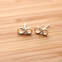 tiny&simple INFINITY stud earrings with crystal, 3 colors | girlsluv.it