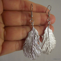 Bold Silver Feather Earrings Silver Earrings by JSWMetalWorks