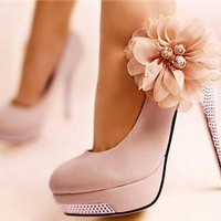Romantic Flower Womens Platform Pumps Stiletto High Heels Bridal Wedding Shoes
