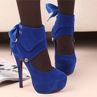 15CM Fashion ladies dress Blue pumps party proms high heels platform shoes US 7