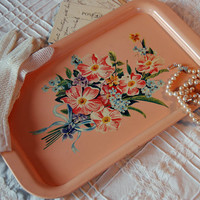 Pink Floral Tin Tray c 1930s by BoldSparrowVintage on Etsy