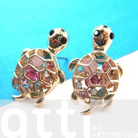 Cute Turtle Tortoise Sea Animal Stud Earrings with Rhinestones