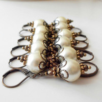 Ivory Pearl Bridesmaid Earrings, Antiqued Bronze Beaded Dangles, Vintage Style Bridal Jewelry, Handmade Wedding Jewellery