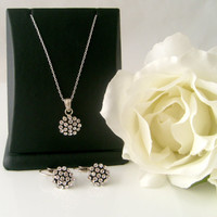 flower girl jewelry art deco crystal rhinestone flower girl necklace and flower girl leverback earrings wedding jewelry bridesmaid gift
