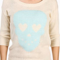 White/Mint Heart Eyed Skull Sweater