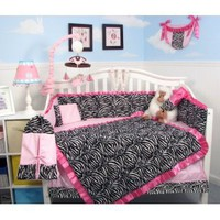 Amazon.com: SoHo Pink with Black & White Zebra Chenille Crib Nursery Bedding 10 pcs Set: Baby