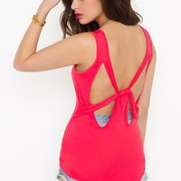 Bow Down Tank - Coral in  Clothes at Nasty Gal