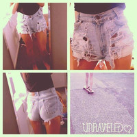 Denim Distressed Ripped Shorts MEDIUM by UnraveledClothing on Etsy