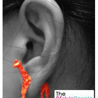 3D Neon Giraffe Ear Stud (Neon Orange) - the85stylePeople