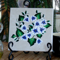 Ceramic Trivet/ Spoon Rest With Blue and White Flowers