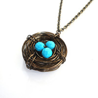 Bird Nest Necklace in Brown with Bright Blue Egg Trio - Customizable Gift for Her - Perfect Christmas Present for Mom