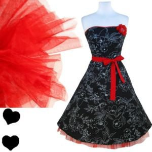 Ruby Rox Black STRAPLESS Floral Party SWING Dress S M RED Tulle Rockabilly PINUP | eBay