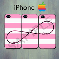 Best Friends Forever Infinity Pink Stripe iPhone case - iPhone 4 case or iPhone 5 case - iPhone Case, Three Case Set
