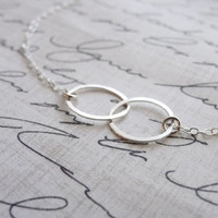 Double circle necklace Sterling silver by OliveYewJewels on Etsy