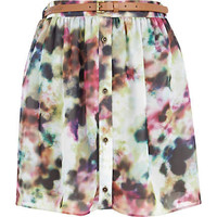 Cream blurred print button up mini skirt