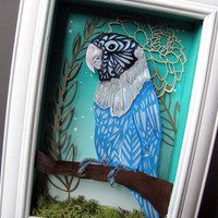 Lovebird Shadowbox - Papercut - Blue - Green - Zentangle - Parrot - Cobalt