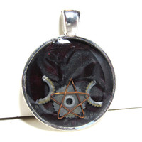 Burgundy & Silver Swirl Triple Moon Resin Pendant