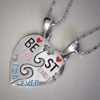 Split Heart Friendship/Best Friends Forever/Memorable Love Silver Pewter Pendant