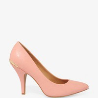Metal Trim Pointed Pumps