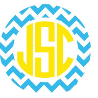 Chevron Monogram Decal 2&quot; Sticker