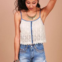 Denim Trim Crop Top - Cropped Tops at Pinkice.com