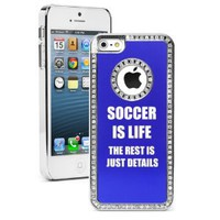 Amazon.com: Apple iPhone 5 Blue 5S1974 Rhinestone Crystal Bling Aluminum Plated Hard Case Cover Soccer Is Life: Cell Phones & Accessories