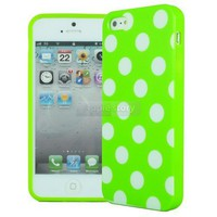 Green / White Polka Dot Soft Rubber TPU Case Cover For Apple iPhone 5 5G 01A