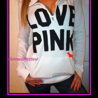 NWot*VICTORIA'S SECRET CAMPUS STYLE HALF ZIP PULL OVER JACKET LOVE PINK*RARE*L
