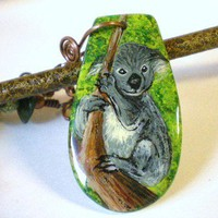 Koala Handpainted Pendant with Serpentine and Bone Discs on Copper Chain Necklace