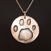Paw Print Medallion Handmade from Sterling Silver by NiciLaskin
