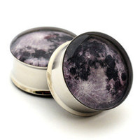 Moon Picture Plugs gauges - 2g, 0g, 00g, 7/16, 1/2, 9/16, 5/8, 3/4, 7/8, 1 inch