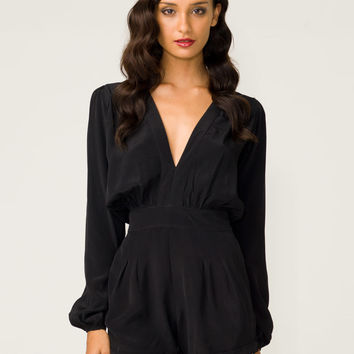 Motel Jet Plunge Neck Playsuit in Black - Motel Rocks
