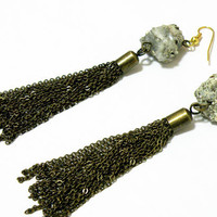 Pyrite Tassel Earrings by nubambu on Etsy
