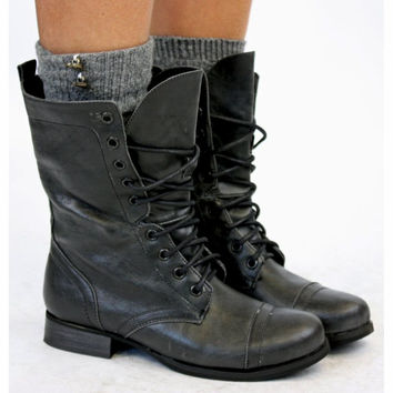 Ladies Worker Army Flat Lace Up Biker Style Military Shoes Ankle Boots Size 3-8