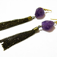 Faceted Amethyst and Antique Gold Tassel Earrings by nubambu