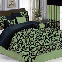 7-PC Green Black Comforter Set King Size New Bed in a Bag