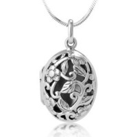 Chuvora Oxidized 925 Sterling Silver Open Filigree Floral Design Oval Shaped Locket Necklace 18'': Jewelry: Amazon.com