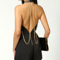 Jenny Chain Back Detail High Neck Playsuit