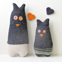 Upcycled Owls mom and son Soft and cuddling by theYarnKitchen