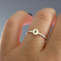 Custom Initial Ring Sterling Silver Brass Or by LittleGreenRoom