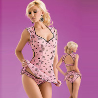 Cute Satine Sweet Heart Chemise and Panty Set [TML0114] - &amp;#36;36.00 : Zentai, Sexy Lingerie, Zentai Suit, Chemise