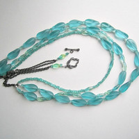 Karibean Blue 3 Strand Statement Necklace